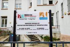 Façade maison départementale des solidarités à Carcassonne.