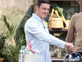 Jean-François Monod, président des producteurs de haricot de Castelnaudary, sur le tournage de l'émission Duel de chefs sur M6