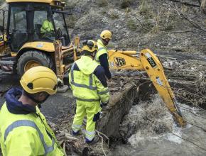 Travaux suite aux inondations de janvier 2020 secteur d'Axat dans l'Aude.