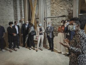 Visite du chantier du transept nord de l'abbaye de Lagrasse dans le cadre de la fondation du patrimoine