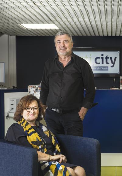 Portrait de Christine Hoegeli, coprésidente d'Acti city, et Claude Soula, directeur de l'association.