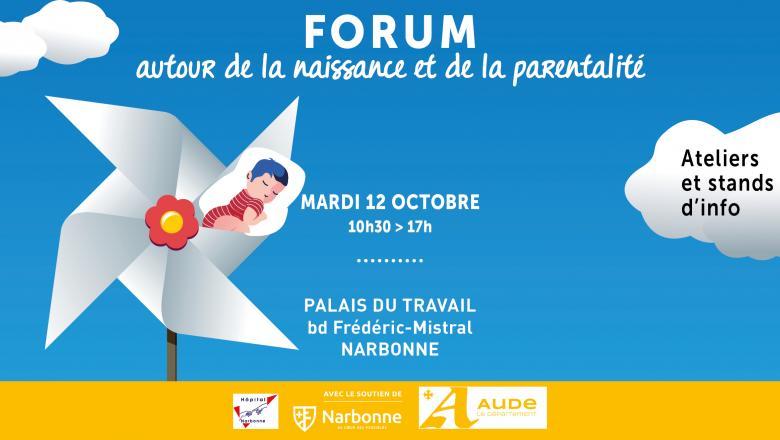 affiche du forum autour de la naissance et de la parentalité 2021 Narbonne