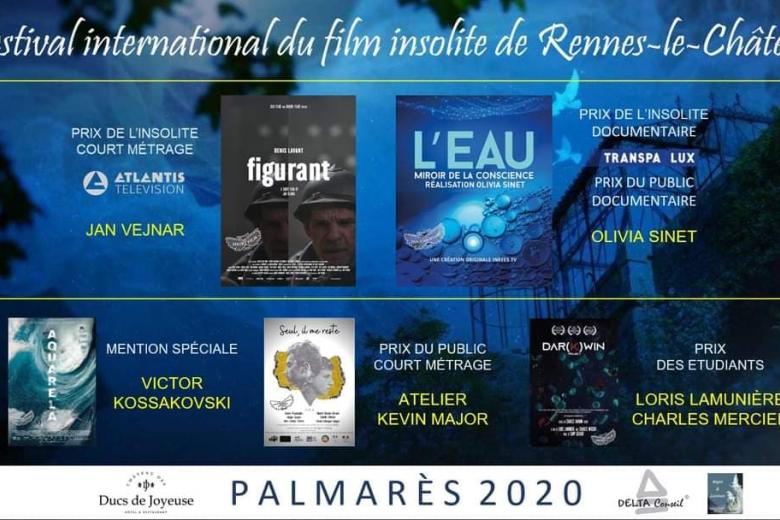 PALMARES 2020 FESTIVAL INTERNATIONAL DU FILM INSOLITE RENNES LE CHATEAU