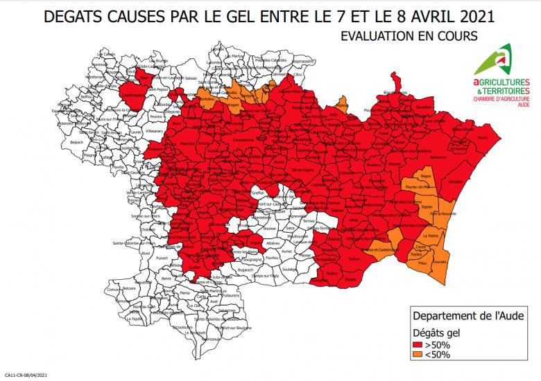 CARTE DRESSANT LE CONSTAT DES DEGATS CAUSES PAR LE GEL EN AVRIL 2021
