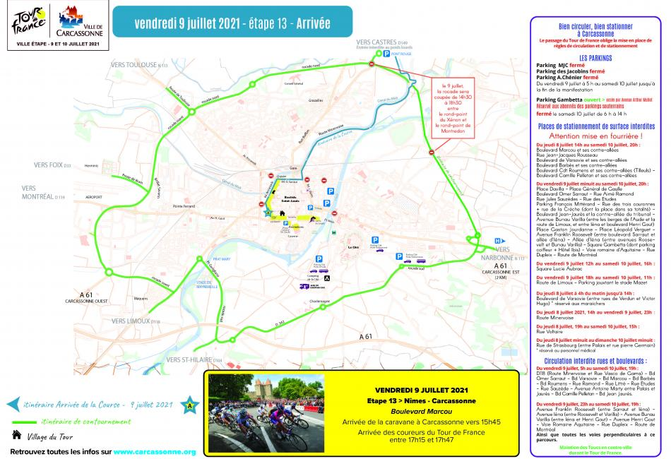 Conditions de circulation sur Carcassonne ville d'arrivée du Tour de France le 09 juillet 2021