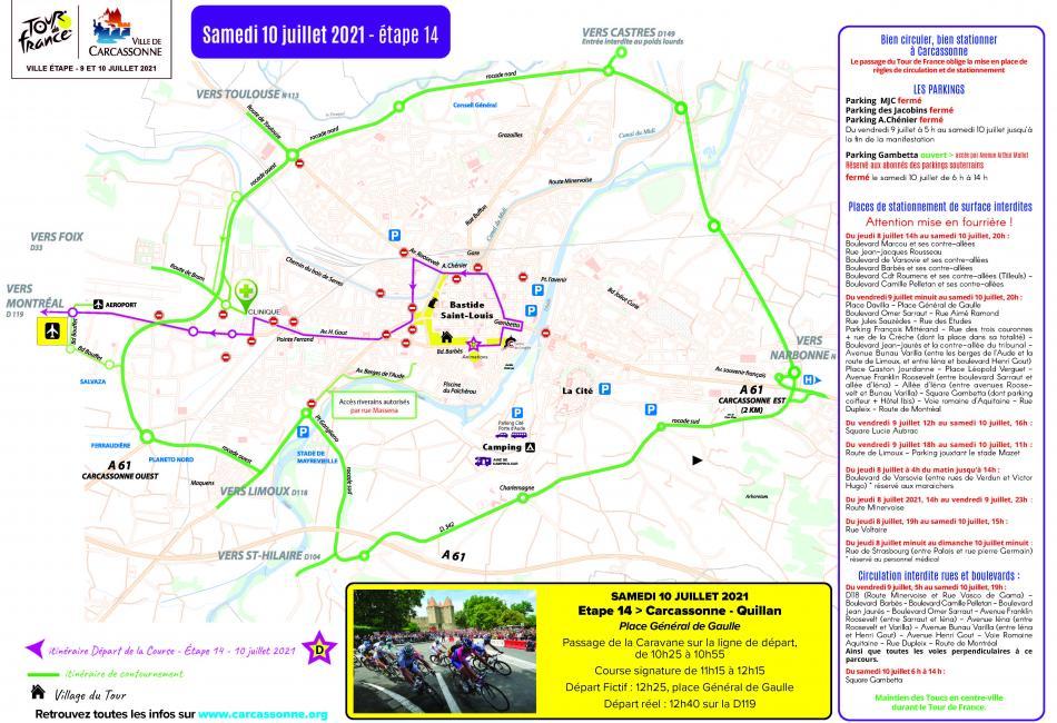 Conditions de circulation à Carcassonne le 10 juillet